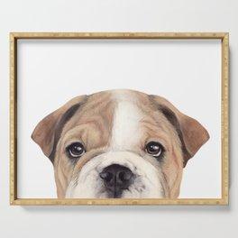 Bulldog Original painting Dog illustration original painting print Serving Tray
