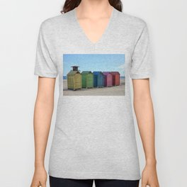 Colorful beach cabinets Unisex V-Neck