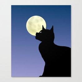 Moon and black cat Canvas Print