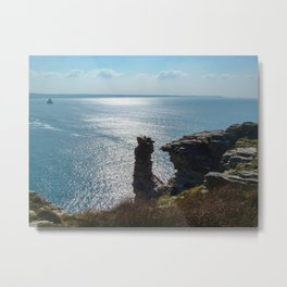 ROCK STACK TINTAGEL NORTH CORNWALL COAST Metal Print