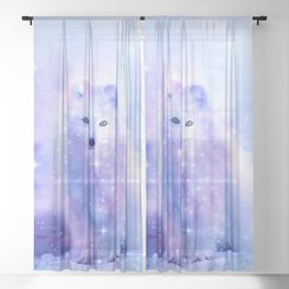 Arctic iceland fox Sheer Curtain
