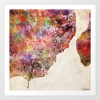philippines Art Prints featuring Davao map Philippines by MapMapMaps.Watercolors