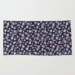 Festive Eclipse Blue and White Christmas Holiday Snowflakes Beach Towel