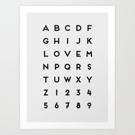 Letter Love - White Art Print