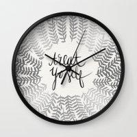 treat yo self Wall Clocks featuring Treat Yo Self – Silver by Cat Coquillette