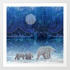 Arctic Journey of Polar Bears Art Print