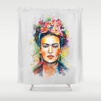 frida Shower Curtains featuring Frida Kahlo by Tracie Andrews