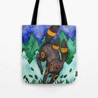 umbreon Tote Bags featuring Eeveevolution Series - Umbreon by Jazmine Phillips