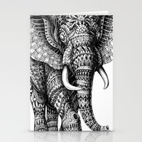 ornate elephant Stationery Cards featuring Ornate Elephant v.2 by BIOWORKZ