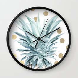Pineapple crown - gold confetti Wall Clock