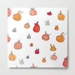 Fall Pumpkin Pattern Metal Print