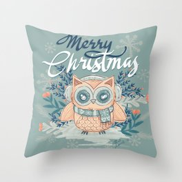 Merry Christmas - Owl Throw Pillow