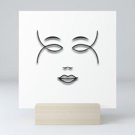 Girl Face Lineart Mini Art Print