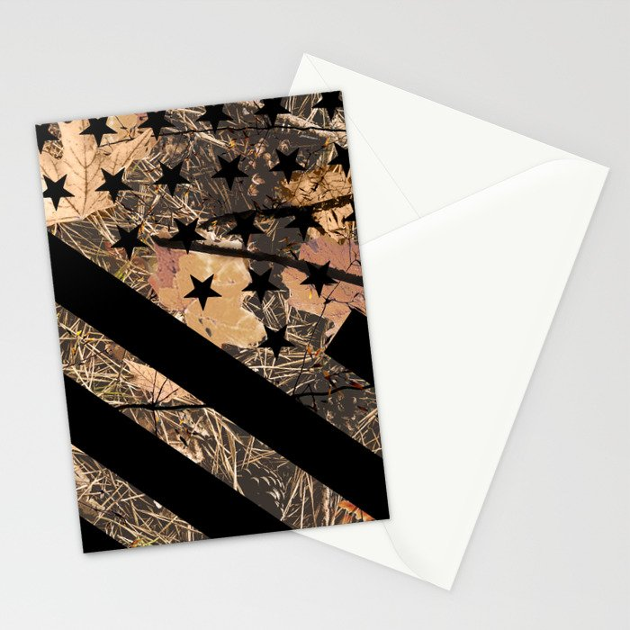 Hunting Camouflage Flag 3 Stationery Cards