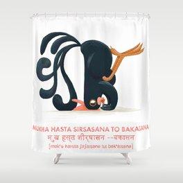 Mukha Hasta Sirsasana to Bakasana Chicken Yoga Shower Curtain