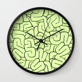 Zombie Brains in Lime Large Wall Clock