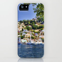 Symi island in Greece. Traditional houses. Sunny day with blue sky and sea. iPhone Case