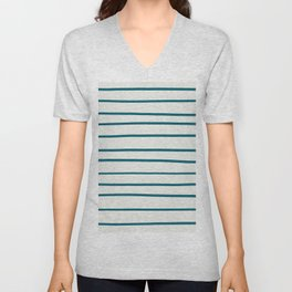 Tropical Dark Teal Simple Minimal Hand Drawn Horizontal Line Pattern Inspired by Sherwin Williams 2020 Trending Color Oceanside SW6496 on Off White Unisex V-Neck