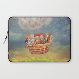 Happy children in the   air balloon in the sky - illustration art Laptop Sleeve