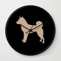 shiba inu Wall Clocks featuring Shiba Inu (on Black) by Erin Rea
