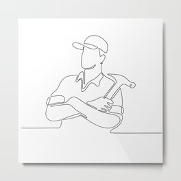 Builder Carpenter Continuous Line Metal Print