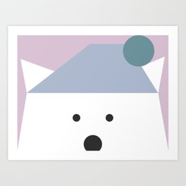Peek-a-Boo Bear with Hat, Pale Blue and Lavender Art Print