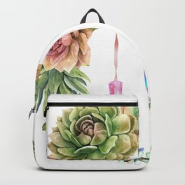 Crystal Crescent Moon With Lovely Succulents Backpack