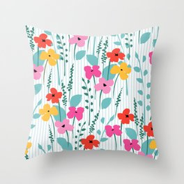 Cute colorful spring flowers pattern Throw Pillow