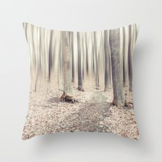 walking through the last days of autumn Throw Pillow