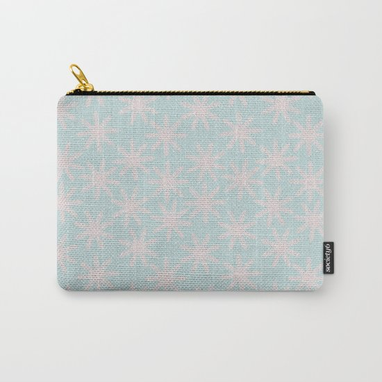 Merry christmas- pink snowflakes and snow on aqua backround Carry-All Pouch