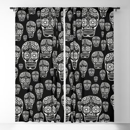 Black And White Sugar Skull Pattern Blackout Curtain
