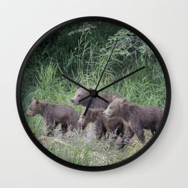 Four Brown Bear Cubs Wall Clock