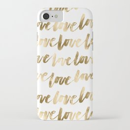 Gold Love Script iPhone Case