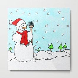 Happy Snowman Metal Print