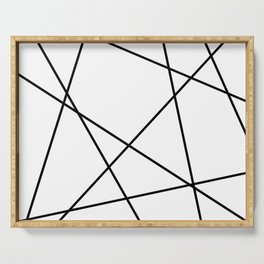 Lines in Chaos II - White Serving Tray