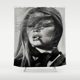 Brigitte Bardot Smoking Shower Curtain