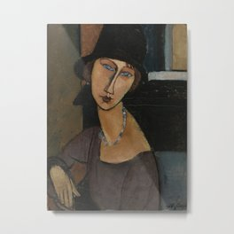 Modigliani - Jeanne Hebuterne With Hat And Necklace Metal Print