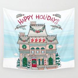 Happy Holidays House Wall Tapestry
