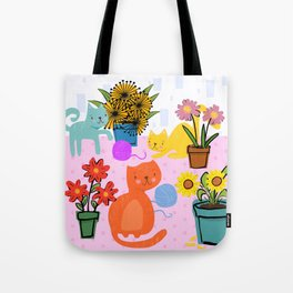 Three Curious Cats Tote Bag