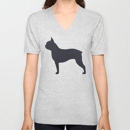 boston terrier silhouette Unisex V-Neck