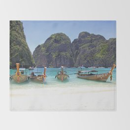 Maya Bay, Phi Phi Island Leh, Thailand Throw Blanket