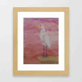 Egret Sunset Framed Art Print
