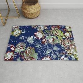 roses painterly in blues and greens Rug