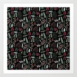 Winter leaves in black Art Print