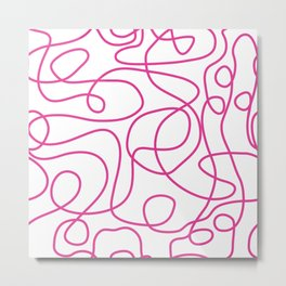 Doodle Line Art | Hot Pink Lines on White Background Metal Print