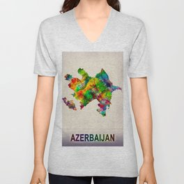 Azerbaijan Map in Watercolor Unisex V-Neck