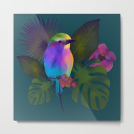 Tropical bird and exotic flowers summer painting Metal Print