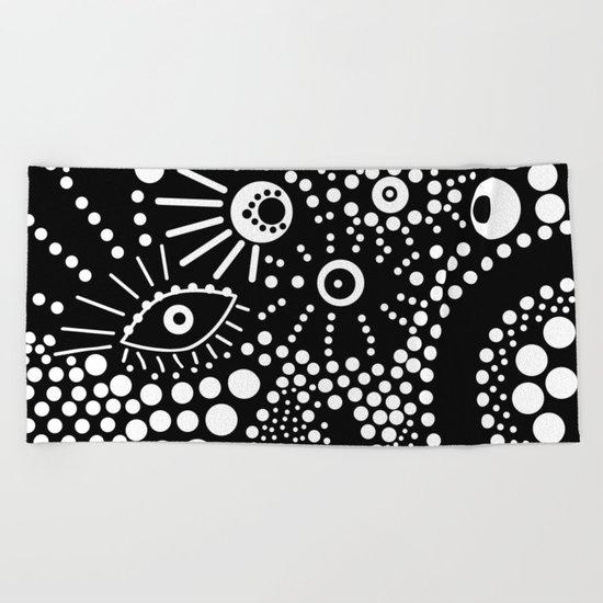 Abstract pattern polka dot black white . Beach Towel