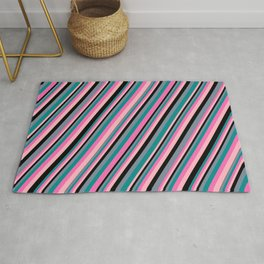 Light Slate Gray, Dark Cyan, Hot Pink, Light Pink, and Black Colored Striped/Lined Pattern Rug