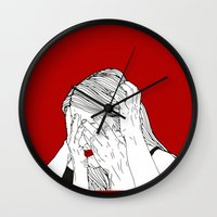 introvert Wall Clocks featuring Introvert 3 by Heidi Banford